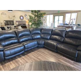 Hallstrung Leather Power Sectional 5 Pc.