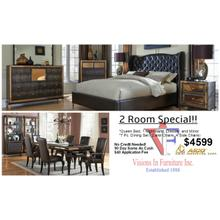2 Room Luxury set, Amini Furniture includes queen bed, dresser, mirror, nightstand, 7 pc dining set