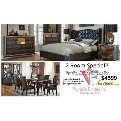 Packages - 2 Room Luxury set, Amini Furniture includes queen bed, dresser, mirror, nightstand, 7 pc dining set