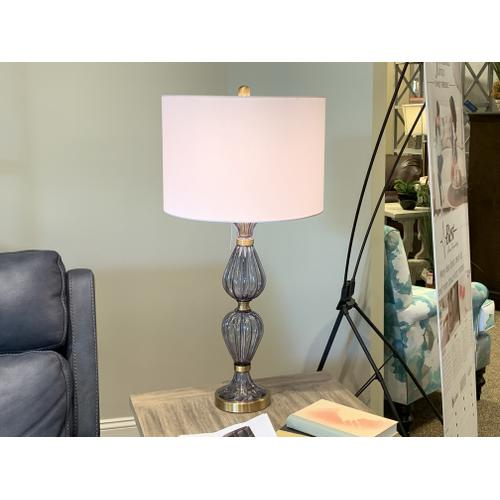 Tyndall Furniture & Mattress - Blue Glass Table Lamp with Drum Shade