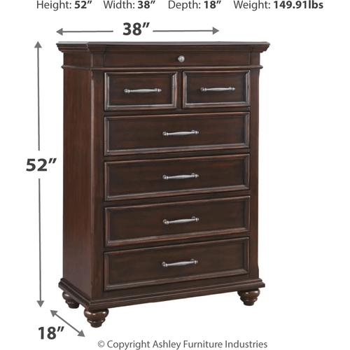 Brynhurst - Dark Brown - 7 Pc. - Dresser, Mirror, Chest, Nightstand & King Panel Bed