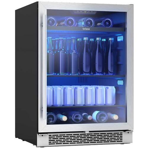 Zephyr BBV24C01AG Brisas Series 24 Inch Stainless Steel Freestanding or Built-In Beverage Center 8 bottles (750 ml), 112 12oz cans