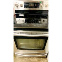See Details - USED- 5.9 cu. ft. Freestanding Flex Duo Oven with Radiant Electric Range (Stainless Steel) E30SSGLAS-U   SERIAL #105