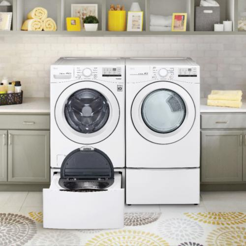 LG - LG 4.5 cu. ft. Ultra Large Front Load Washer & 7.4 cu. ft. Ultra Large Capacity Electric Dryer with Pedestals