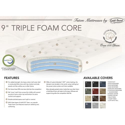 """Gold Bond - 9"""" Triple Form Core Futon Mattress"""