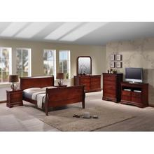 LOUIS PHILLIPE (SLEIGH) QUEEN BED FRAME - CHERRY