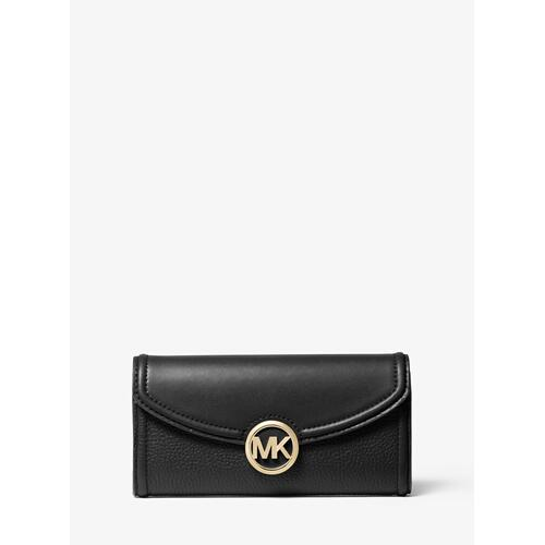 MICHAEL KORS Fulton Large Pebbled Leather Continental Wallet - Black