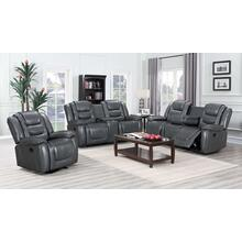 JENDIZ COLLECTION GRAY RECLINING SOFA, LOVESEAT AND ROCKER RECLINER