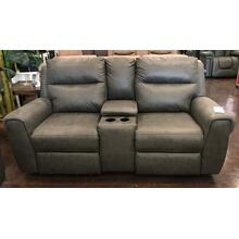 Grey Power Reclining Loveseat With Console