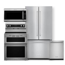"""See Details - KITCHENAID 36"""" French Door Refrigerator & Electric Double Oven Convection Range 4 Piece Package- Minor Case Imperfections"""