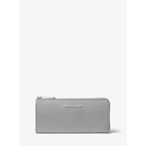 MICHAEL KORS Jet Set Travel Leather Quarter-Zip Wallet - Pearl Grey