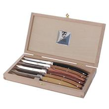 See Details - Claude Dozorme Thiers Stainless Steel 6-Piece Steak Knife Set with Mixed Wood Handle