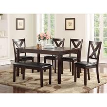 6PC - TABLE W/ 4 CHAIRS & BENCH SET