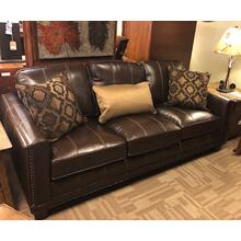 Leather Sofa w/ Nailhead Trim