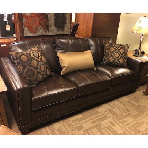 Leather Sofa w/ Nailhead Trim