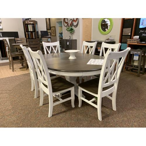 Oval Dining Table with 6 Double X-Back Chairs