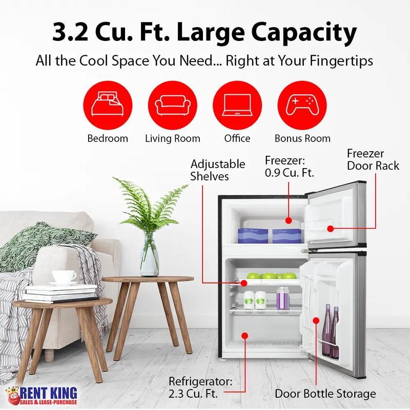 View Product - Kenmore 99033 3.2 cu. ft. 2-Door Compact Refrigerator - Metallic