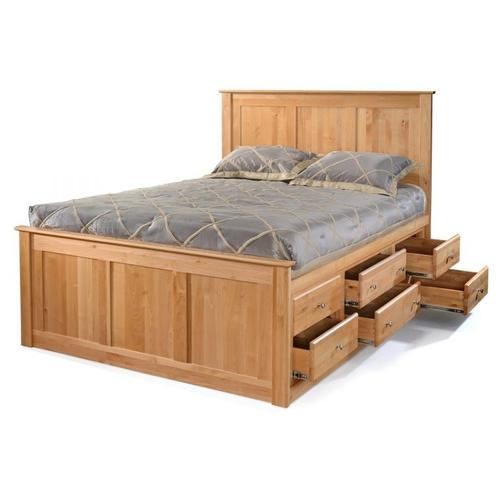 Storage Bed - Queen Flat Panel Headboard & 6 Drawers