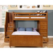 Multi-Purpose Loft - Twin over Full Bunk Bed - Rustic Pecan