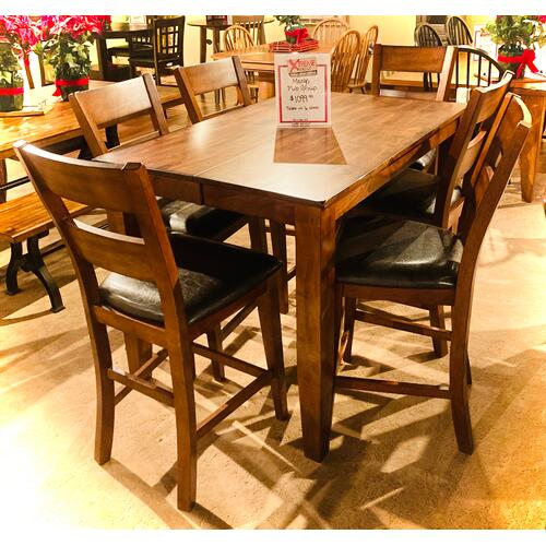 Warehouse M - MANGO PUB TABLE & 6 STOOLS in Carribean Cherry Finish         (WARE-MANGOP)
