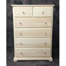 """Maine Made 2 Over 4 Drawer Chest 34""""W x 48""""H x 18""""D Pine Unfinished"""