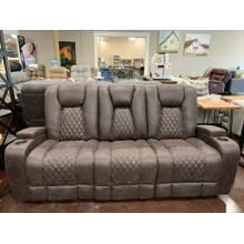 View Product - Reclining Sofa with Table and Light- Brown