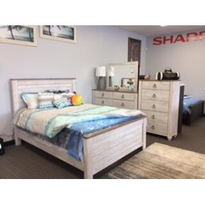 Ashley Furniture - 5 PC Willowton Whitewash Bedroom Set Queen