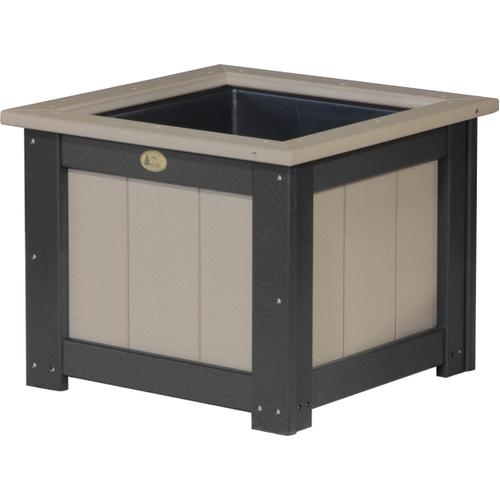 "Square Planter 24"" Weatherwood and Black"