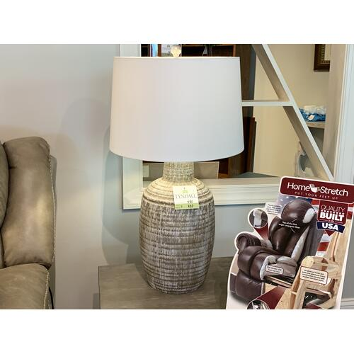 Earth Toned Textured Table Lamp with White Shade