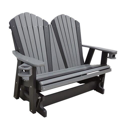 Outdoor Furniture - 4' Adirondack Glider W/Optional Swing-out Cup holders