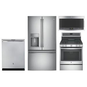 GE Profile 4-piece Stainless Steel Appliance Package With Gas Range