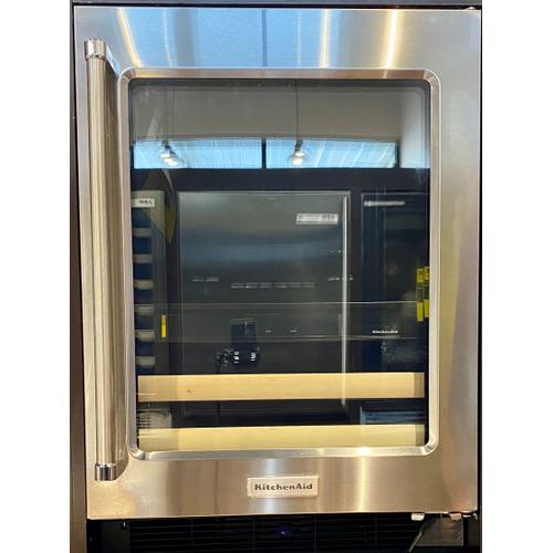 """KitchenAid KUBR204ESB   24"""" Beverage Center with Glass Door and Wood-Front Racks - Stainless Steel"""