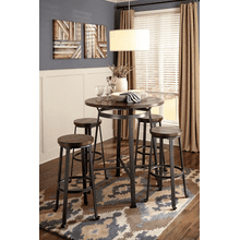 Challiman - Rustic Brown - 5 Pc. - Round Bar Table & 4 Tall Stools