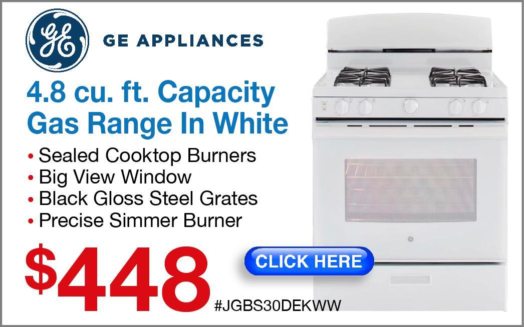 GE Gas Range in white