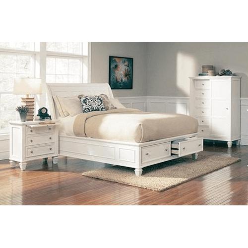 Sandy Beach White Queen Storage Bed