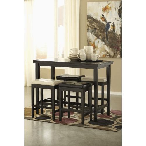 Kimonte - Dark Brown - 5 Pc. - Rectangular Counter Table, 2 Ivory Barstools & 2 Brown Barstools