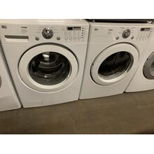 Refurbished LG White Front Load Washer Dryer Set On Pedestals  Please call store if you would like additional pictures. This set carries our 6 month warranty, MANUFACTURER WARRANTY AND REBATES ARE NOT VALID (Sold only as a set)