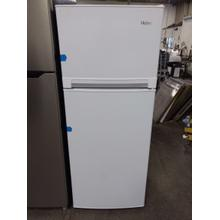 White Haier Top Mount Refrigerator ( NEW) (This may be a Stock Photo, actual unit (s) appearance may contain cosmetic blemishes. Please call store if you would like additional pictures). This unit carries our 6 Month warranty, MANUFACTURER WARRANTY and REBATE NOT VALID with this item. ISI 37198 W