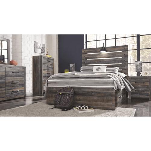 Drystan- Multi- Dresser, Mirror, Chest, Nightstand & Full Panel Bed with Storage