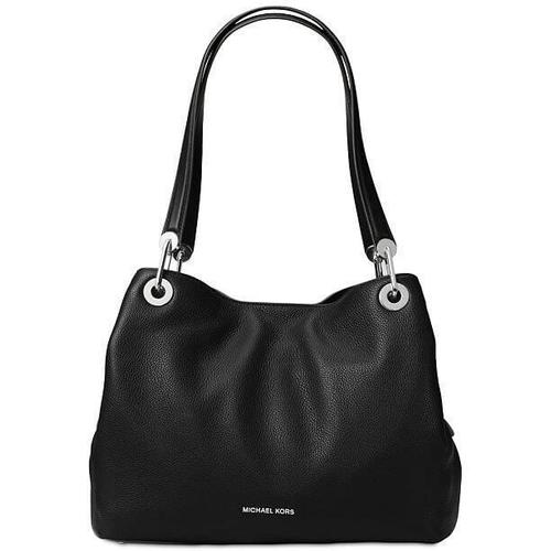 Michael Kors Raven Large Shoulder Tote - Black with Silver - 30H6SRXE3L-001