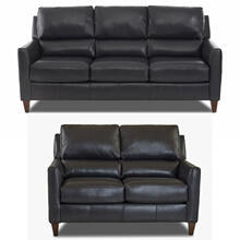 Darkar Charcoal All Leather Sofa & Loveseat