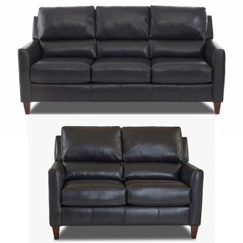Darkar Charcoal All Leather Sofa & Loveseat