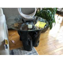 ROOT BALL END TABLE W/ GLASS TOP