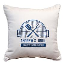 "Grilled To Perfection With Blue Thread 18""x18"" *CUSTOM"