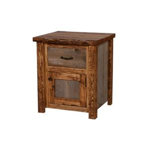House Lodge Collection - Natural Barn Wood 1 Drawer / 1 Door Nightstand