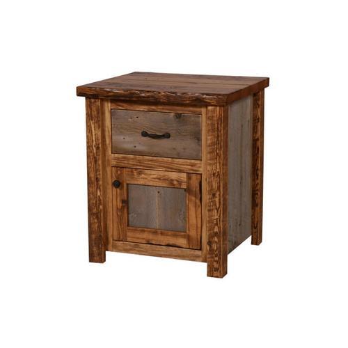 Product Image - Natural Barn Wood 1 Drawer / 1 Door Nightstand