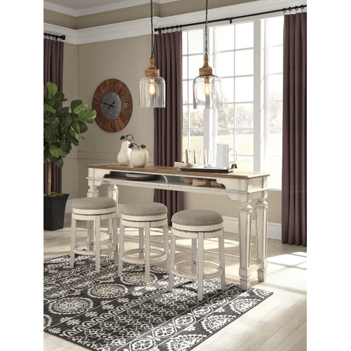 Realyn -Two-tone - 4 Pc.- Long Counter Table & 3 Upholstered Swivel Stools