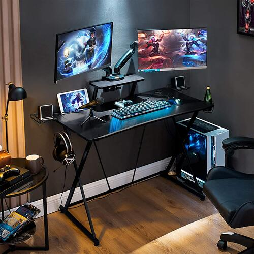 Gaming Desk with Monitor Stand, Black Home Office Computer Desk with Cup Holder, Headphone Hook, Speaker Holders and Cable Managements