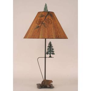 Iron w/ Walking Bear & Pine Tree Table Lamp