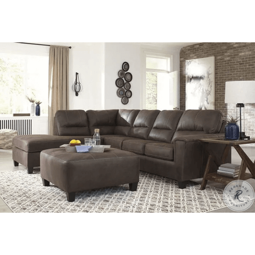 Navi - Chestnut - 2-Piece Sofa Sleeper Sectional with Left Chaise